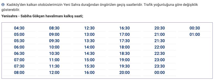 Taksim Havabüs Saatleri